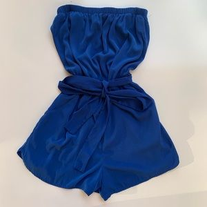 Forever 21 silky blue playsuit romper jumpsuit.